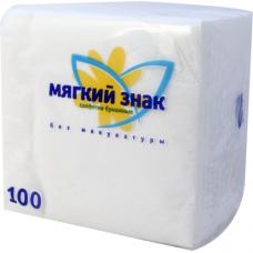 Салфетки бумажные Мягкий знак 1-слойные, белые, 100 шт.